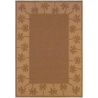 StyleHaven Palm Borders Tan/Beige Indoor-Outdoor Area Rug (7'3x10'6)