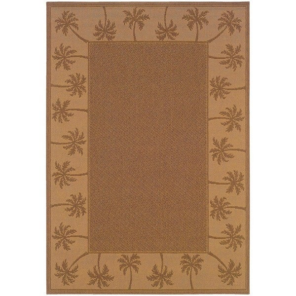 StyleHaven Palm Borders Tan/Beige Indoor-Outdoor Area Rug (7'3x10'6)