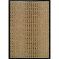 StyleHaven Basket Weave Beige/Black Indoor-Outdoor Area Rug (2'3x7'6)