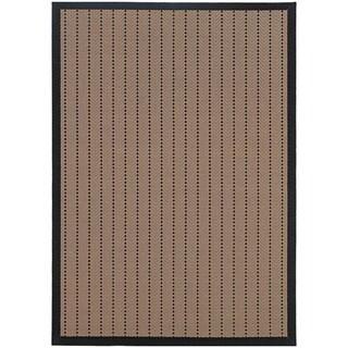 StyleHaven Basket Weave Beige/Black Indoor-Outdoor Area Rug (5'3x7'6)