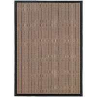 StyleHaven Basket Weave Beige/Black Indoor-Outdoor Area Rug (7'3x10'6)