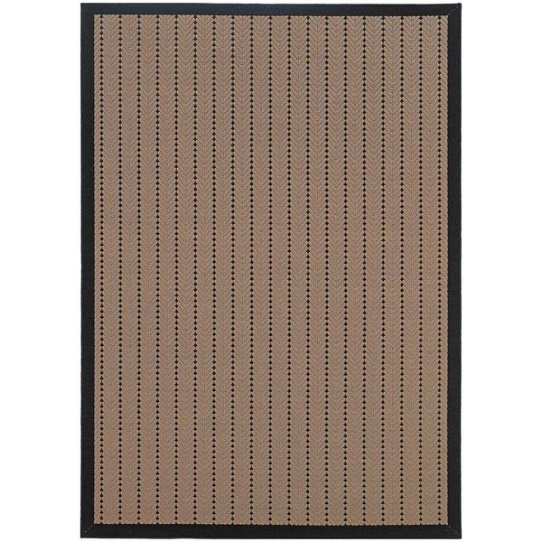 StyleHaven Basket Weave Beige/Black Indoor-Outdoor Area Rug (7'3x10'6)