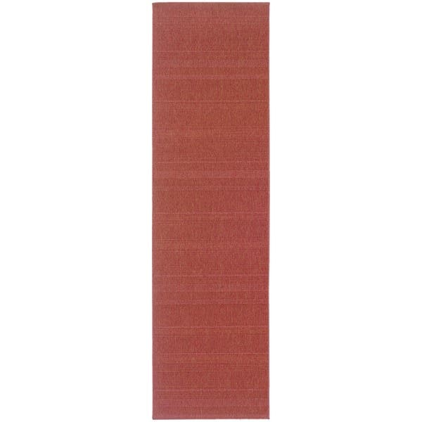 Woven Loop Red Indoor Outdoor Area Rug