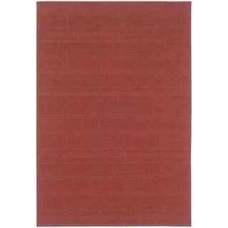 StyleHaven Solid Woven Loop Red Indoor-Outdoor Area Rug (5'3x7'6)