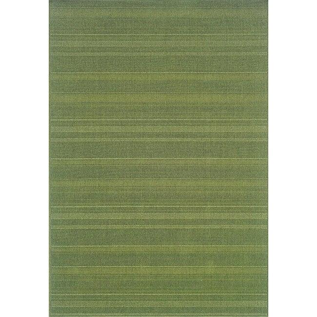 StyleHaven Solid Woven Loop Green Indoor-Outdoor Area Rug (5'3x7'6)