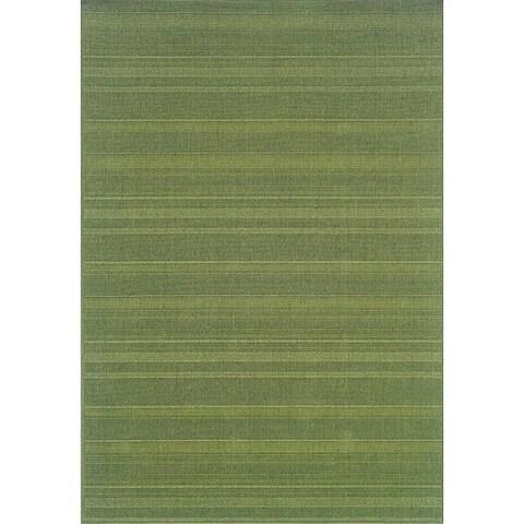 StyleHaven Solid Woven Loop Green Indoor-Outdoor Area Rug (7'3x10'6)