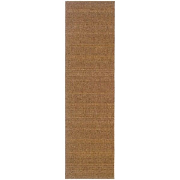 StyleHaven Solid Woven Loop Tan Indoor-Outdoor Area Rug (2'3x7'6)