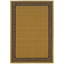 StyleHaven Greek Key Borders Beige/Black Indoor-Outdoor Area Rug (2'3x7'6)