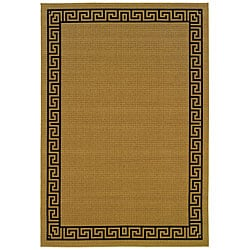 StyleHaven Greek Key Borders Beige/Black Indoor-Outdoor Area Rug (3'7x5'6)