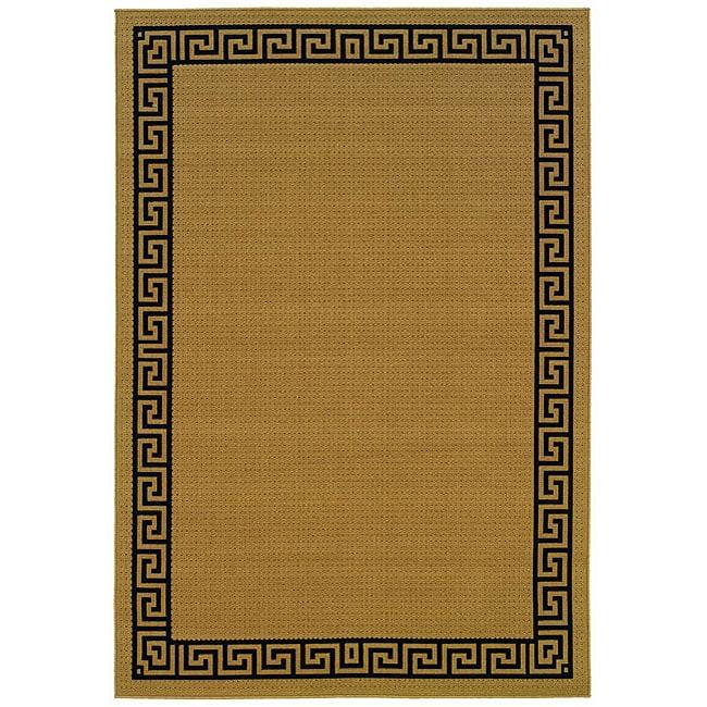 StyleHaven Greek Key Borders Beige/Black Indoor-Outdoor Area Rug (5'3x7'6)