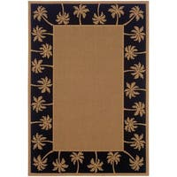 StyleHaven Palm Borders Beige/Black Indoor-Outdoor Area Rug (3'7x5'6)