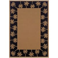 StyleHaven Palm Borders Beige/Black Indoor-Outdoor Area Rug (5'3x7'6)