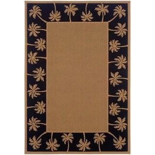 """StyleHaven Palm Borders Beige/Black Indoor-Outdoor Area Rug (7'3x10'6) - 7'3"""" x 10'6"""""""