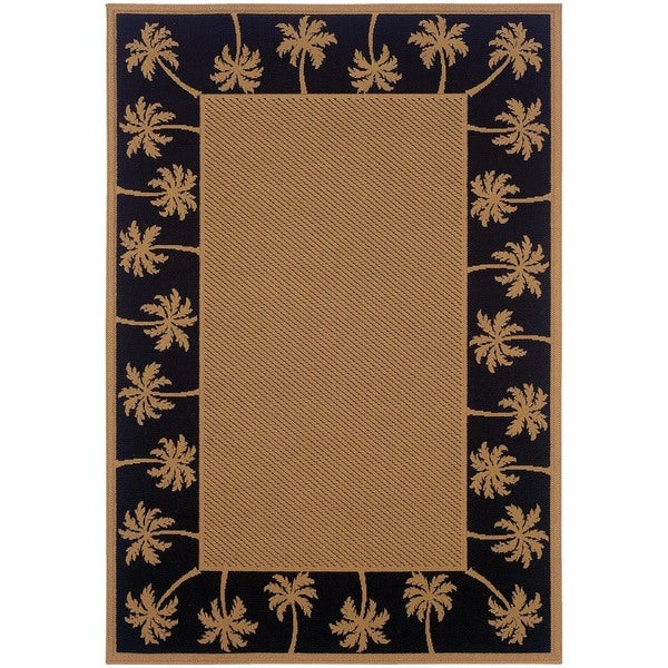 StyleHaven Palm Borders Beige/Black Indoor-Outdoor Area Rug (7'3x10'6)