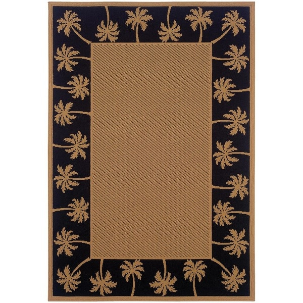 "StyleHaven Palm Borders Beige/Black Indoor-Outdoor Area Rug (7'3x10'6) - 7'3"" x 10'6"""