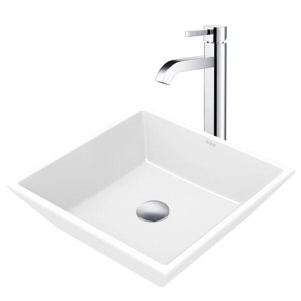 Kraus 3-in-1 Bathroom Set C-KCV-125-1007 White Ceramic Square Vessel Sink, Ramus Single Hole Faucet, Pop Up Drain