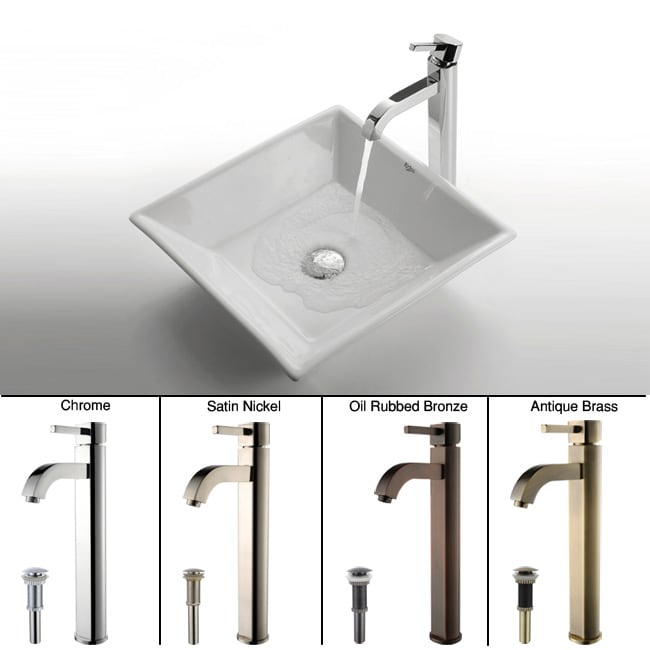 KRAUS Flat Square Ceramic Vessel Sink in White with Ramus Faucet in Chrome