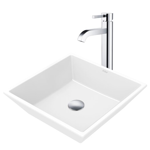 KRAUS Flat Square Ceramic Vessel Sink in White with Ramus Faucet