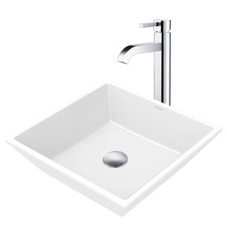 Kraus 3-in-1 Bathroom Set C-KCV-125-1007 White Ceramic Square Vessel Sink, Ramus Single Hole Faucet, Pop Up Drain