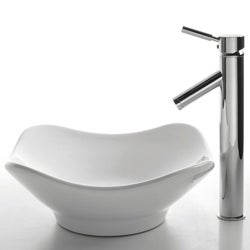 KRAUS Tulip Ceramic Vessel Sink in White with Sheven Faucet in Satin Nickel - Thumbnail 1