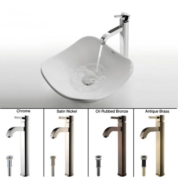 KRAUS Tulip Ceramic Vessel Sink in White with Ramus Faucet