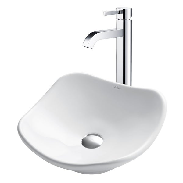 Kraus 3-in-1 Bathroom Set C-KCV-135-1007 White Ceramic Modern Art Vessel Sink, Ramus Single Hole Faucet, Pop Up Drain