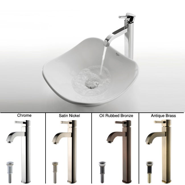 KRAUS Tulip Ceramic Vessel Sink in White with Ramus Faucet in Chrome