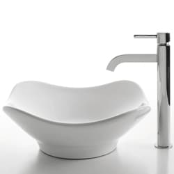 KRAUS Tulip Ceramic Vessel Sink in White with Ramus Faucet in Chrome - Thumbnail 1