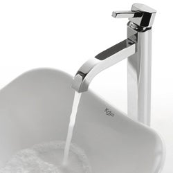 KRAUS Tulip Ceramic Vessel Sink in White with Ramus Faucet in Chrome - Thumbnail 2
