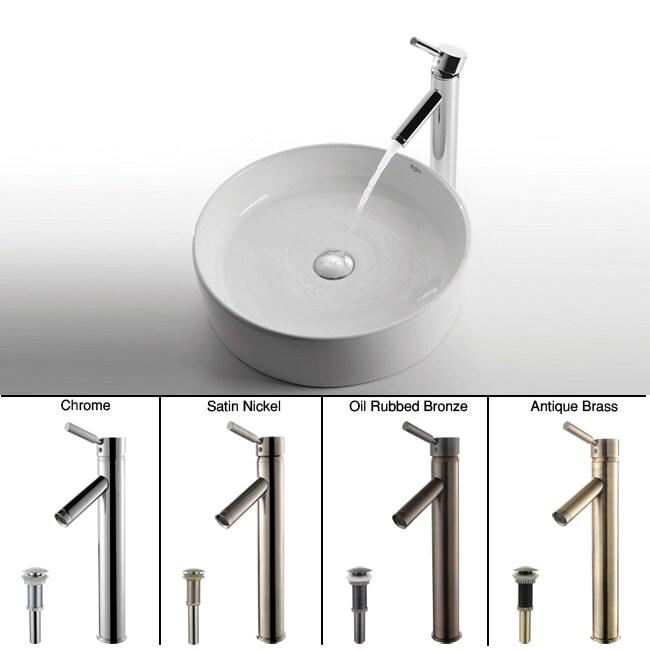 KRAUS Round Ceramic Vessel Sink in White with Sheven Faucet in Satin Nickel