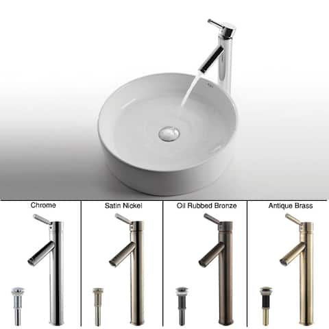 Kraus 3-in-1 Bathroom Set C-KCV-140-1002 White Ceramic Round Vessel Sink, Sheven Single Hole Faucet, Pop Up Drain