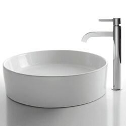 KRAUS Round Ceramic Vessel Sink in White with Ramus Faucet in Chrome - Thumbnail 1