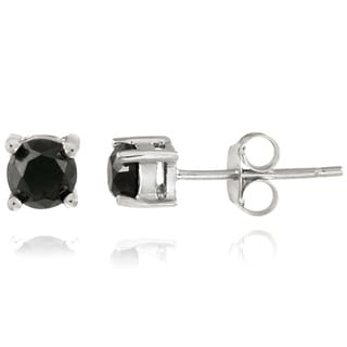 Sterling Silver 1/2ct TDW Black Diamond Stud Earrings