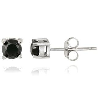 Sterling Silver 1/2ct TDW Black Diamond Stud Earrings