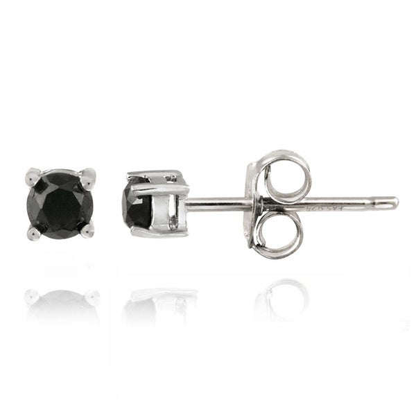DB Designs Sterling Silver 1/4ct TDW Black Diamond Earrings