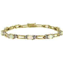Glitzy Rocks 18k Gold over Silver 2 1/3 carat TGW Lab-created Opal and Diamond Bracelet