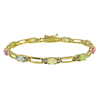 Glitzy Rocks Gold over Silver Lab-created Opal and Diamond Bracelet