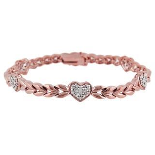 DB Designs Sterling Silver Diamond Accent Heart Bracelet