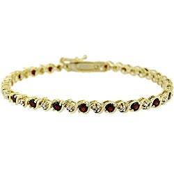 Glitzy Rocks 18k Gold over Sterling Silver Garnet and Diamond Bracelet
