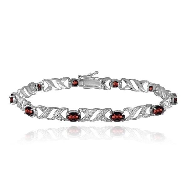 Glitzy Rocks Sterling Silver Garnet and Diamond Accent Bracelet