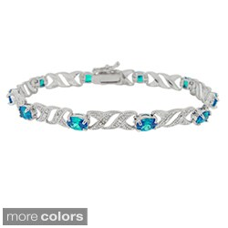 Icz Stonez Sterling Silver Gemstone and Diamond Accent Bracelet