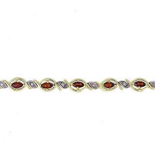 Glitzy Rocks 18k Gold over Silver Garnet and Diamond Accent Bracelet