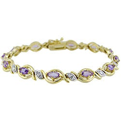 Glitzy Rocks 18k Gold over Silver Amethyst and Diamond Accent Bracelet
