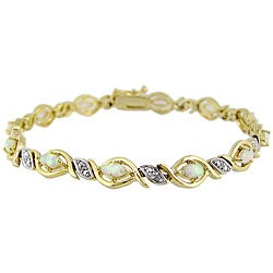 Rocks 18k Gold over Silver 3 1/8 carat TGW Lab-created Opal and Diamond Bracelet