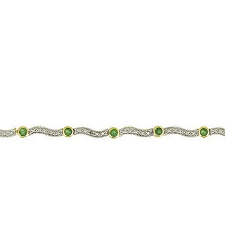 Glitzy Rocks 18k Gold over Silver Emerald and Diamond Accent Wave Bracelet