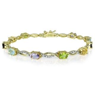 Glitzy Rocks 18k Gold/ Sterling Silver Diamond Accent Multi-gemstone Bracelet