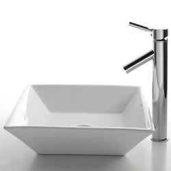 KRAUS Flat Square Ceramic Vessel Sink in White with Sheven Faucet in Satin Nickel - Thumbnail 1