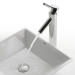 KRAUS Flat Square Ceramic Vessel Sink in White with Sheven Faucet in Satin Nickel - Thumbnail 2