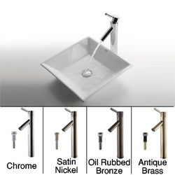 KRAUS Flat Square Ceramic Vessel Sink in White with Sheven Faucet in Satin Nickel
