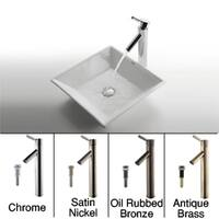 KRAUS Flat Square Ceramic Vessel Sink in White with Sheven Faucet